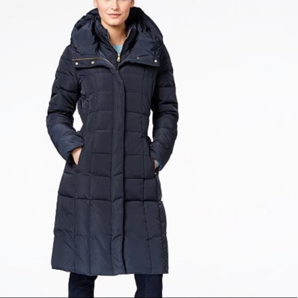 Cole Haan Navy Blue Down Quilted Puffer Coat M